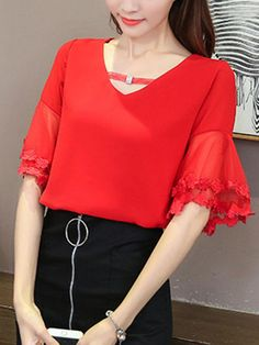 V-Neck Hollow Out Plain Bell Sleeve Blouse Red Blouse Outfit, Blouse Dress, Black Blouse, Red Blouses, Shirt Blouses, Blouses For Women, Blouse Styles, Blouse Designs, Half Sleeves