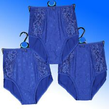M/&S Blue White Floral Stretch Cotton Blend Full Briefs Knickers Panties Size 16