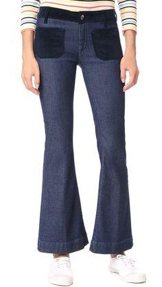 Seafarer Cropped Penelope Flare Jeans In Blue Victoria Beckham, Stella Mccartney, Seafarer, Beach Wear, Best Brand, Stretch Denim, Flare Jeans, Corduroy, Bell Bottom Jeans