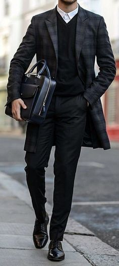 Black Checked Overcoat With Black Sweat Shirt Perfect for Business Meeting