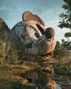 Illustrations of Pop Culture Icons Abandoned in a Post-Apocalyptic World by Filip Hodas Abandoned Buildings, Abandoned Places, Haunted Places, Abandoned Mansions, Urbane Kunst, Abandoned Amusement Parks, Cultura Pop, Digital Illustration, Photography Illustration