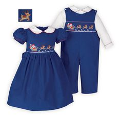 Smocked Matching Brother-Sister Santa's Sleigh Ride Outfits
