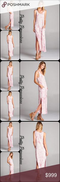 "NWT Tie Dyed Pink Blush Slit Hem Maxi Dress NWT Tie Dyed Pink Blush Slit Hem Maxi Dress  Available in S, M, L Measurements Small  Length: 54"" Bust: 36""  Medium  Bust: 38""  Large Bust: 40""  Rayon/Spandex  Features • hidden side pockets • 19"" slit accent each side bottom hemline • super soft, jersey material w/stretch • scooped neckline • sleeveless • relaxed, easy & accommodating fit  Bundle discounts available  No pp or trades   Item # 1/102200440PBMD pink blush tie dyed maxi dress Pretty…"