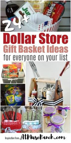 Dollar Store Gift Basket Ideas - You'll never run out of ideas of what to give this roundup of dollar store gift baskets. There is something for everyone and every occasion. baskets Dollar Store Gift Baskets for Everyone on Your List Themed Gift Baskets, Diy Gift Baskets, Christmas Gift Baskets, Raffle Baskets, Homemade Christmas Gifts, Christmas Diy, Creative Gift Baskets, Gift Basket Themes, Homemade Gift Baskets