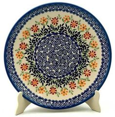 "Polish Pottery - 10"" Dinner Plate - Flower Power 
