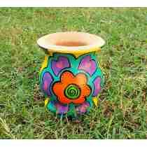 Mate Pintado Madera Flor Colorida C/bombilla De Regalo Painted Pots, Clay Pots, Planters, Painting, Colorful, Vases, Craft Rooms, Bazaars, Picture On Wood