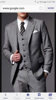 Slate gray suit for guys.