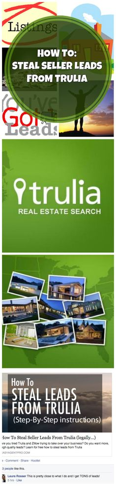 How to steal seller leads from Trulia! Are you looking to grow your business this year? Heck, how about today? This system can be setup by anyone.  No tech knowledge required. Build off of Trulia's million dollar tested ad funnel and get yourself more leads today. Click to see how. Repin to save for later. #marketing #realestate