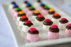quick easy marshmallow treat could be put in the shape of a rainbow too