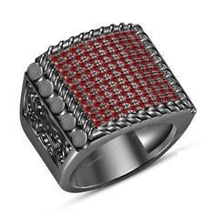 14K Black Gold Finish 1.50 Carat Round Cut Red Garnet Men's Band Ring Size 7-14 #aonedesigns #MensEngagementRing