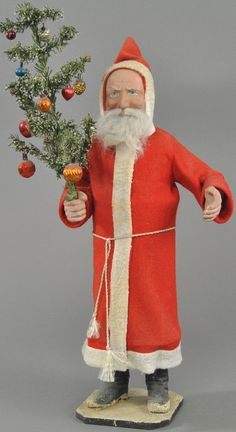 Germany, cardboard tube body, composition black boots on snow covered wood base, red felt robe with white trim, compo. on Nov 2015 German Christmas, Christmas Past, Victorian Christmas, Vintage Christmas Ornaments, Father Christmas, Christmas Items, Christmas Candy, Handmade Christmas, Christmas Decorations