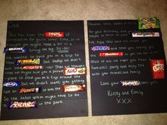 Candy bar / Chocolate bar birthday card (English Chocolate)