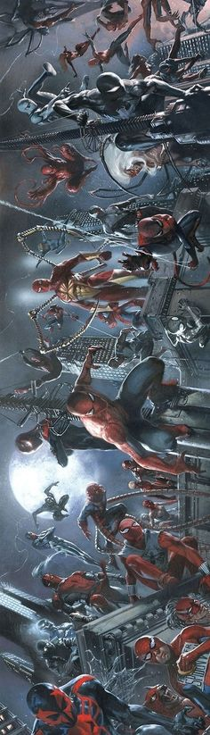 Spider-Verse by Gabriele Dell'Otto - Spiderman Marvel Comic Book Characters, Comic Book Heroes, Marvel Characters, Comic Character, Comic Books Art, Comic Art, Book Art, Marvel Comics, Bd Comics