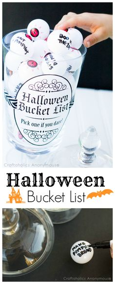 Looking for fun Halloween ideas for kids this year? Download this free Halloween Bucket list printable and learn how to make eyeballs from ping pong balls!