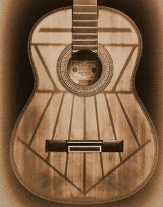 Sistema de varetaje, visto por transparencia, de una guitarra de Francisco Simplicio.