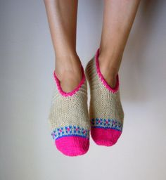 Hand Knit Wool Socks Cream Pink Blue Women's Socks Slippers Christmas Gift. via Etsy.