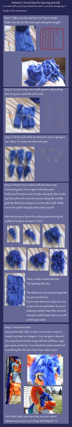 TUTORIAL - Fursuit hair or fur layering  by Xeshaire-This suit is beautiful! My hair for my head was done a little differently though! Some yarn was brushed out until it was soft for my hair tuft.