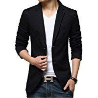 iPretty Fashion Men's Suit Jacket Slim Cotton Thin Casual Two Buttons Blazer Coat Outwear