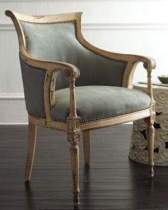 Slate Gray Chair by Old Hickory Tannery at Horchow. I would be SO much more productive if I could have this in my home office.
