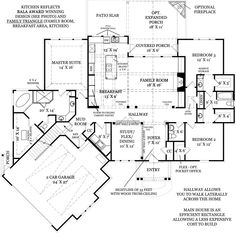 First Floor Plan image of Presente House Plan similar to our fav plan. office on second, great space in basement.