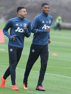Jesse Lingard and Marcus Rashford of Manchester United in action during a first team training session at Aon Training Complex.....