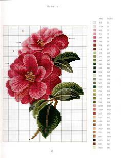 Thea Gouverneur Flower Portraits in cross stitch Camellia Tiny Cross Stitch, Cross Stitch Needles, Cross Stitch Flowers, Cross Stitch Charts, Cross Stitch Designs, Rose Embroidery, Cross Stitch Embroidery, Flower Chart, Flower Coloring Pages