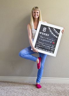 Printable Pregnancy Countdown Chalkboard Photo Prop Sign - Set of 9 on Etsy, $35.00