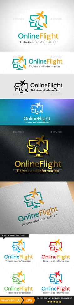 Online Flight Logo Template — Vector EPS #wave #info • Available here → https://graphicriver.net/item/online-flight-logo-template/10741294?ref=pxcr
