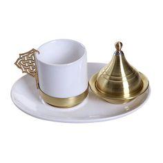 Pinhan Bakır - Tekli Oval Seramik Kahve Seti Beyaz