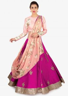 Powder pink sequins embroidered net lehenga with grey georgette blouse and organza ruffled dupatta only on Kalki Raw Silk Lehenga, Banarasi Lehenga, Pink Lehenga, Lehenga Saree, Bridal Lehenga, Indian Bridal Outfits, Indian Designer Outfits, Indian Dresses, Designer Dresses