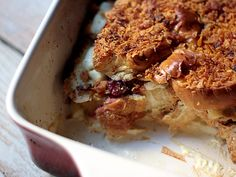 Cranberry + Cream Cheese Stuffed French Toast Casserole recipe