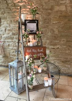 Wedding venue styling by top Bristol Florists, The Wilde Bunch at Kingscote Barn. Wedding venue styling by top Bristol Florists, The Wilde Bunch at Kingscote Barn. All main props come with no hire charg. Ladder Wedding, Barn Wedding Venue, Wedding Table, Rustic Wedding, Vintage Country Weddings, Diy Wedding Backdrop, Barn Wedding Decorations, Wedding Lanterns, Wedding Props