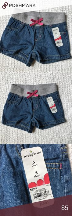 """BRAND NEW Girl's Denim Shorts Size 5 Brand new with attached tags. Also available in tan (see separate listing). Elastic waist. Measures 9.5"""" across waist, 2"""" inseam. Bundle and save5%! ❌Price is firm unless bundled❌ Jumping Beans Bottoms Shorts"""