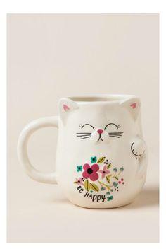 Be Happy Lucky Cat Shaped Mug- gift-cl Cat Coffee Mug, Cat Mug, Cat Lover Gifts, Cat Gifts, Crackpot Café, Cute Cups, Cool Mugs, Funny Mugs, Crazy Cat Lady