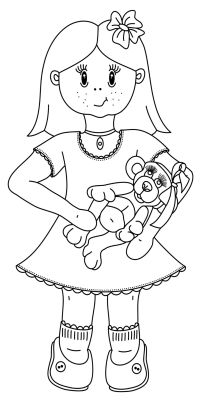 free little girl with teddy digital stamp set outline