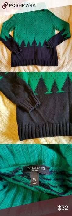 Talbots lambswool blend Christmas sweater Size petite medium. Green and navy color. Long sleeve. Good condition, some light wear. See photo for material composition. Talbots Sweaters Cowl & Turtlenecks