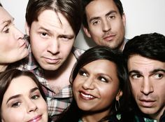 Beth Grant (Beverly), Ike Barinholtz (Morgan), Ed Weeks (Jeremy), Zoe Jarman (Betsy), Mindy Kaling (Mindy) and Chris Messina (Danny) behind the scenes of The Mindy Project. The Mindy Project, Mindy Kaling, Seinfeld, Movies Showing, Movies And Tv Shows, Chris Messina, Halle Berry, Girl Next Door, Breaking Bad