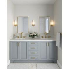 Blue Bathroom Vanity, Double Sink Bathroom, Bathroom Vanity Cabinets, Modern Bathroom, Small Bathroom, Timeless Bathroom, Bathroom Plants, Master Bath Vanity, Ikea Bathroom