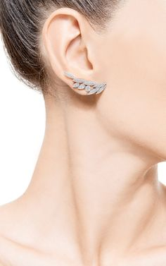 White Diamond Crystal Long Stud Earring by AS29 for Preorder on Moda Operandi