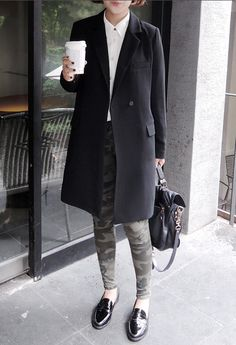 White shirt bon ton style, military pants, black coat and black patent leather loafers.