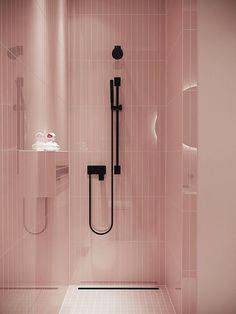 Inspiração banheiros com detalhes em preto. Rosa e preto. Chuveiro preto.