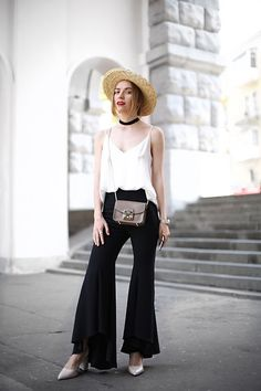 Get this look: http://lb.nu/look/8250721  More looks by Valeriya Sytnik: http://lb.nu/user/5362196-Valeriya-S  Items in this look:  Zara Pants, Asos Boater, Furla Bag