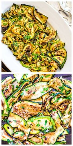 This Roasted Zucchini Salad is so flavorful and healthy, you'll want to make it over and over again! Seasoned with lemon-parsley dressing, it requires only 5 ingredients! FOLLOW Cooktoria for more deliciousness! #zucchini #salad #summer #healthyrecipe #grill #lowcarb #keto #ketosis #whole30 #vegan #vegetarian #recipeoftheday