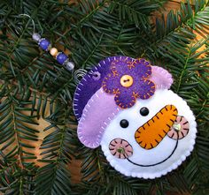 Wool Felt Snow Girl with Purple Hat Ornament by FHGoldDesigns