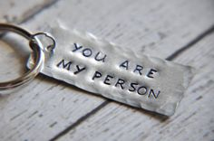 Couple Keychain - You are My Person Keychain - Hand Stamped Keychain - Keychain for Her - Keychain for Him - Anniversary Gift - Couple Gift