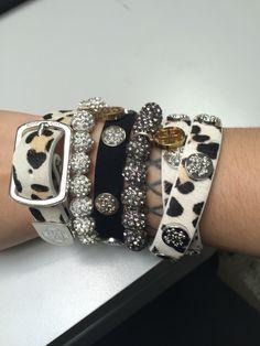 Leopard print rustic cuff stack