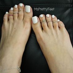 White Toes #barefoot #pedicure #prettytoes #pedicure #toerings #whitetoes #prettyfeet