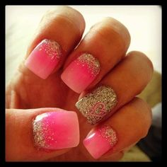 Heart, pink and glitter nails