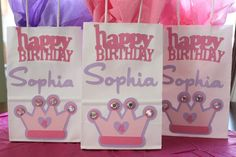 Princess Party Treat Goody Bags by KellyKrockerKreates on Etsy, $3.25  Take all off except crown and add each girls name to bag.