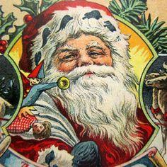 SANTA Sack of Toys REINDEER--Antique Vintage Christmas Postcard!